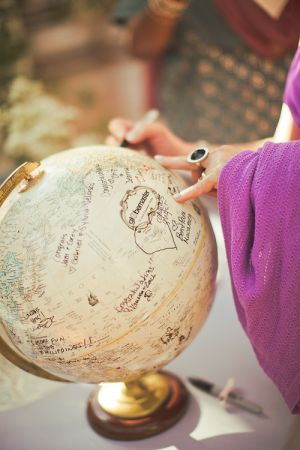 Going a little more non-traditional, ask your guests to sign their congratulations on their favorite spot in the world!