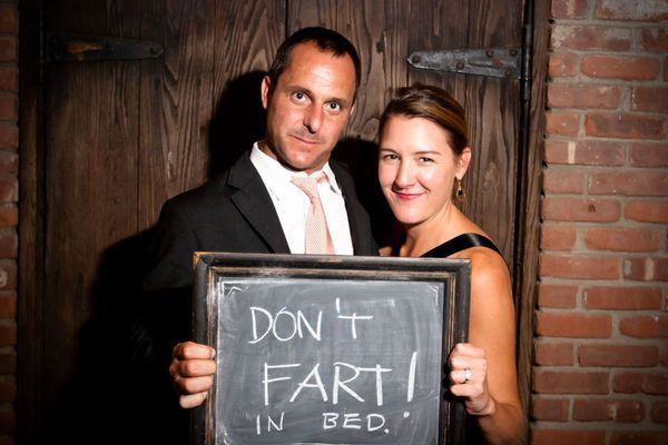 Have a photo booth for a guest book! Have guests write their congratulations (or advice) on a chalkboard and give you the picture as a keepsake!