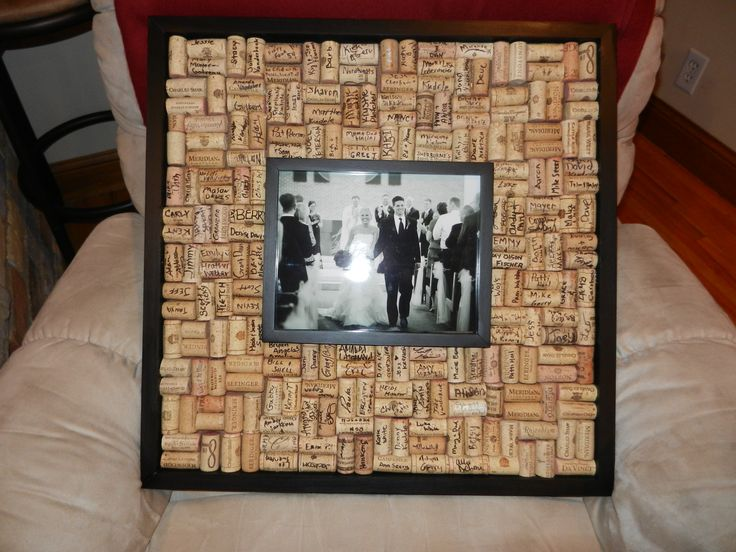 We love the use of corks as a guest book! It's a great use of something that would otherwise be thrown away! You can decorate a wedding picture frame with them later or put them in a jar to display!