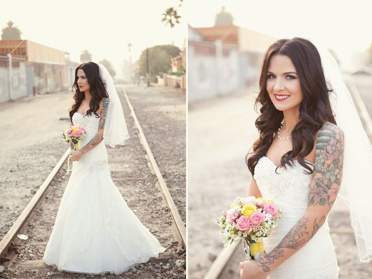 Bride with the dragon tattoo 30 tattooed brides for Tattoos and wedding dresses